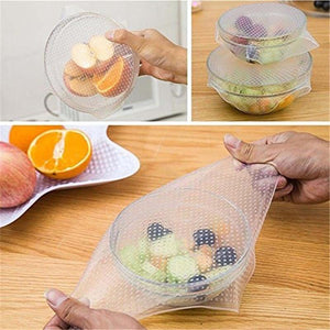 4 Pack: Reusable Silicone Stretch Fit Food Container Lids
