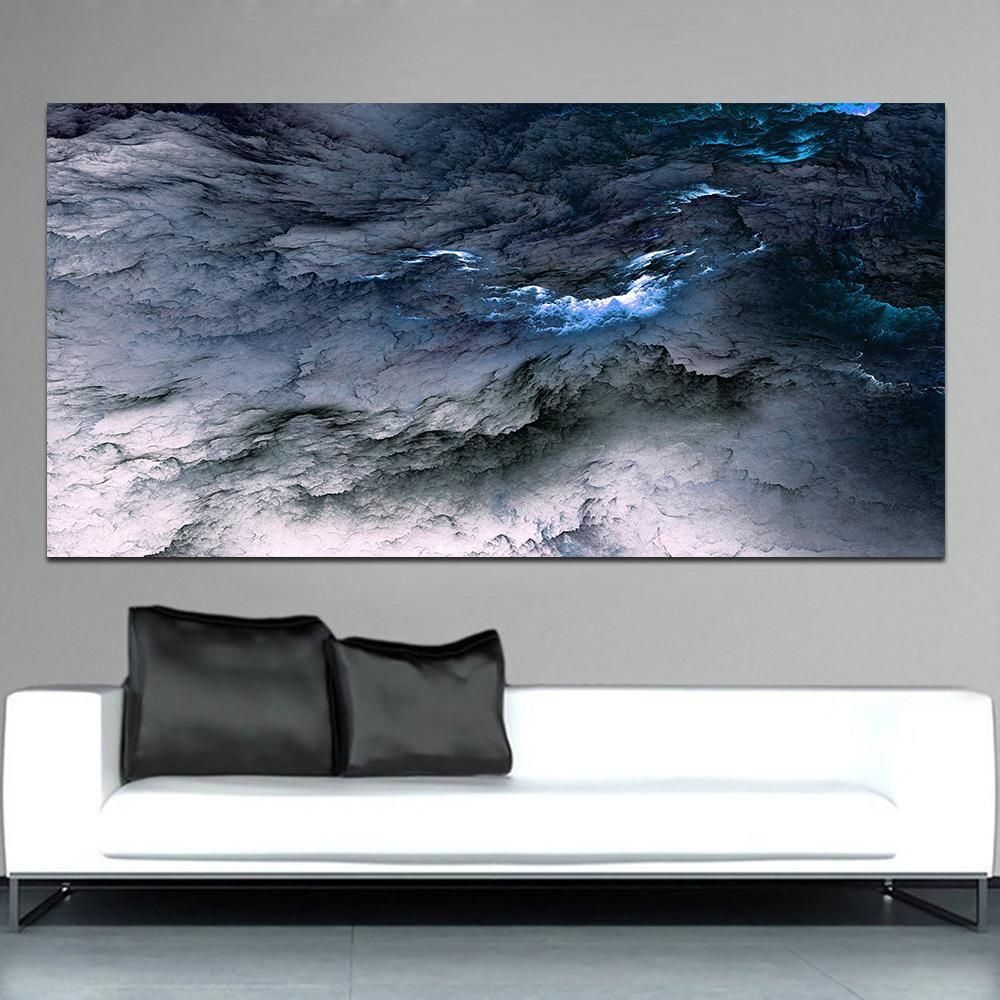 WANGART Large Size Canvas Poster Art Prints Cloud Abstract Black Blue Oil Painting for Living Room Decorative Picture Pop Home