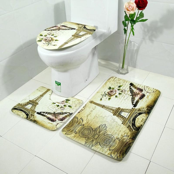 3pcs Floral Tower Butterfly Printed Toilet Seat Cover Set