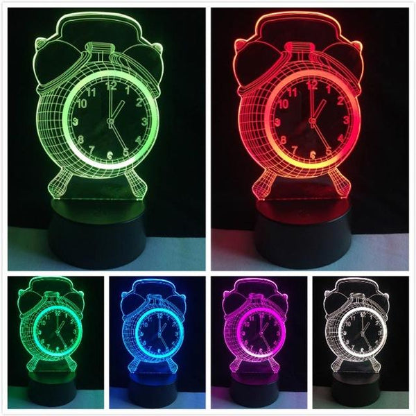 Retro Multi-Color 3D LED Night Light Alarm Clock