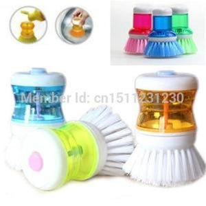 Cleaning Brush Supplies Palm Dish Brush with Washing Up Liquid Soap Dispenser Storage Set  Kitchen Clean Brush