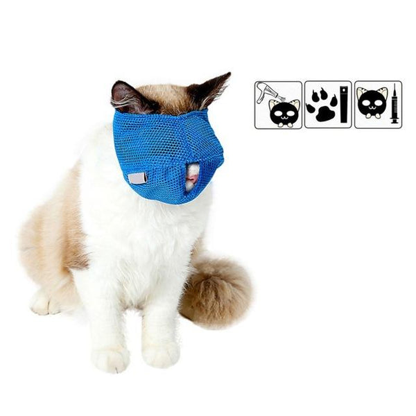 New Breathable Mesh Cat Color Blue/Pink Anti Bite Muzzles Cat Travel Tool Bath Beauty Grooming Supplies Cat Bathing Bag S/L