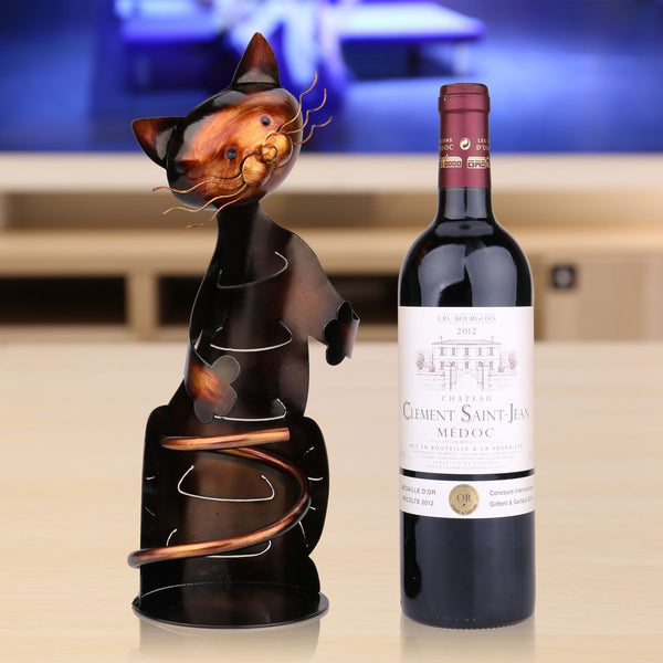 Metal Cat Home Wine Rack Holder