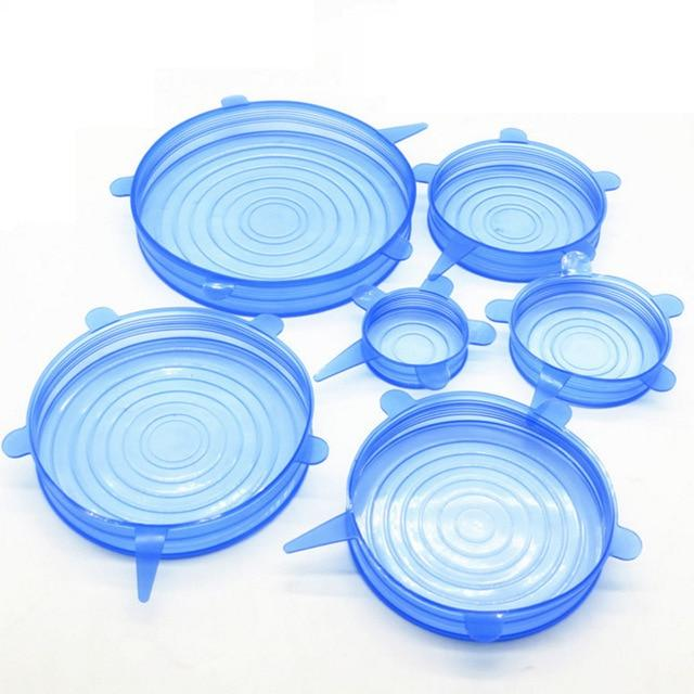 6 Pack: Universal Silicone Stretch Fit Food Storage Lids - BPA Free