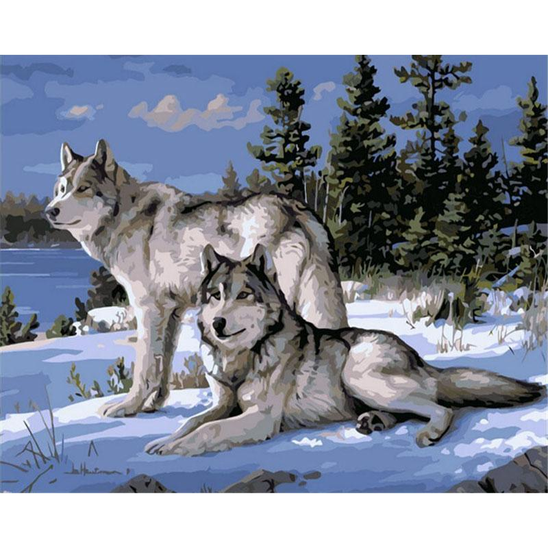 No Frame Wolf Animals DIY Painting By Numbers Kits, Canvas Acrylic Coloring