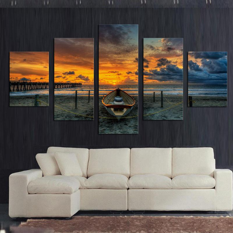 No Frame 5 Panel Seascape And Boat With HD Large Print Canvas Painting For Living Room Home Decoration Unique Gift Wall Picture