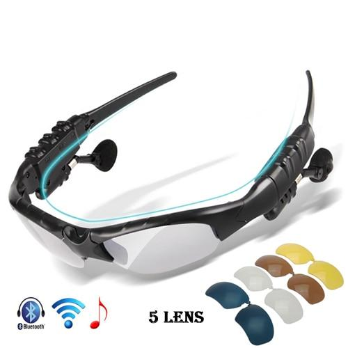 Polarized Bluetooth Headphone Cycling Sport Sunglasses with 5 Interchangeable Lenses