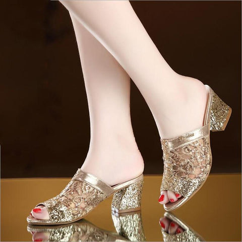 Women Bling Square Heel Lace Slippers Hollow Sandals