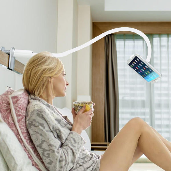 Flexible 360 Degree Rotating Long Arm Tablet Holder with Clamp