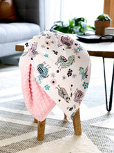 Load image into Gallery viewer, Blankets - Blush Llama/Blush Dimple - Soft Baby Minky Blanket