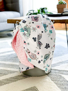 Blankets - Blush Llama/Blush Dimple - Soft Toddler Minky Blanket