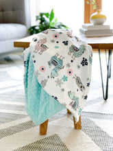 Load image into Gallery viewer, Blankets - Blush Llama - Soft Baby Minky Blanket