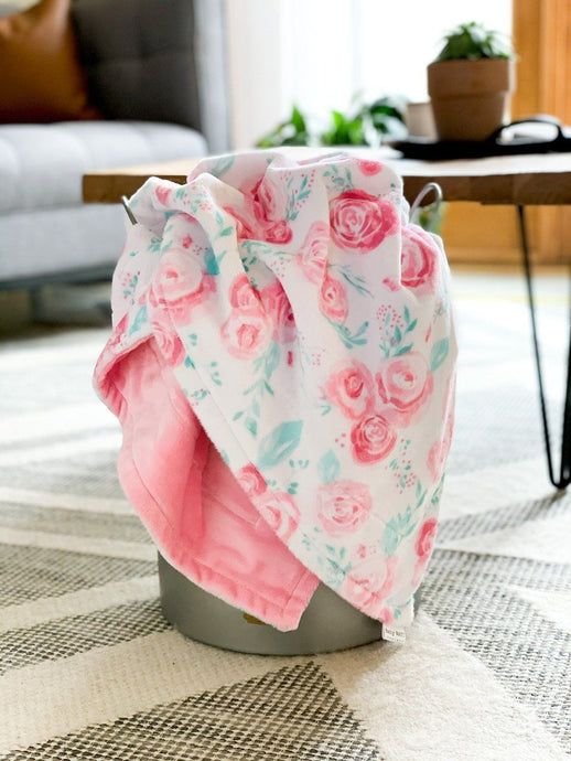 Blankets - Blush Rosie - Soft Toddler Minky Blanket