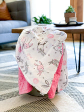 Load image into Gallery viewer, Blankets - Bunny Hop - Soft Toddler Minky Blanket