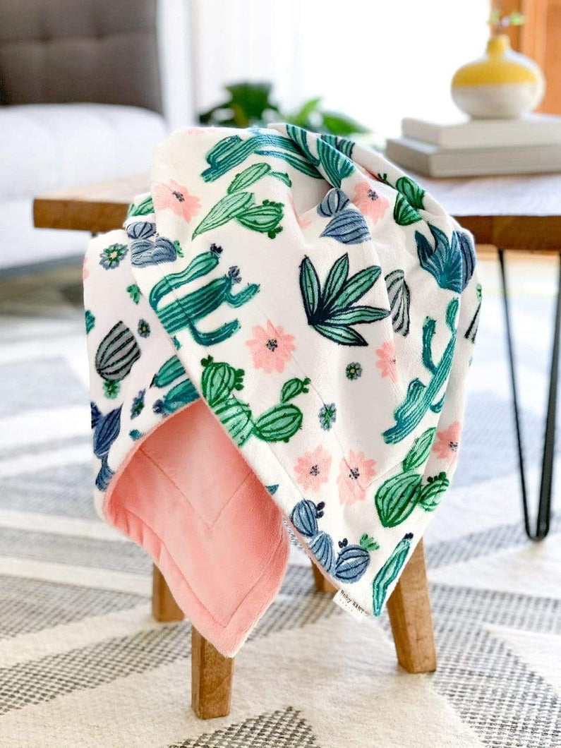 Blankets - Cactus Bloom/Shell - Soft Baby Minky Blanket