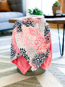 Blankets - Coral Blooms - Soft Toddler Minky Blanket