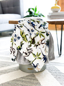 Blankets - Lost World/Steel - Soft Toddler Minky Blanket