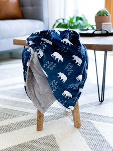 Blankets - Navy Bearfoot - Soft Baby Minky Blanket