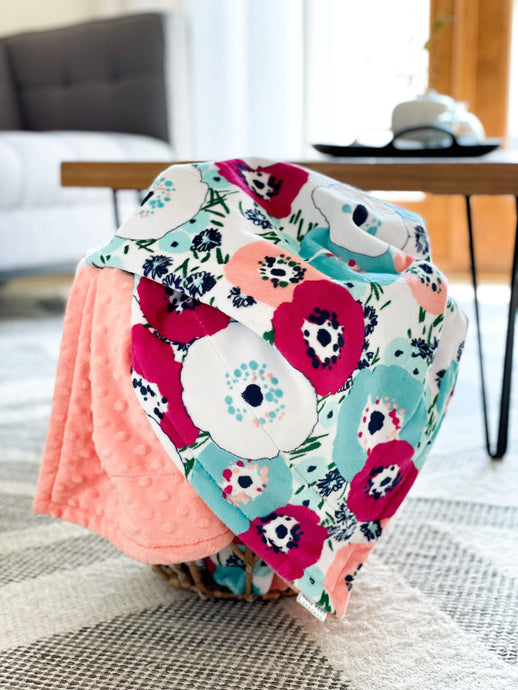 Blankets - Papaya Blossom - Soft Youth Minky Blanket
