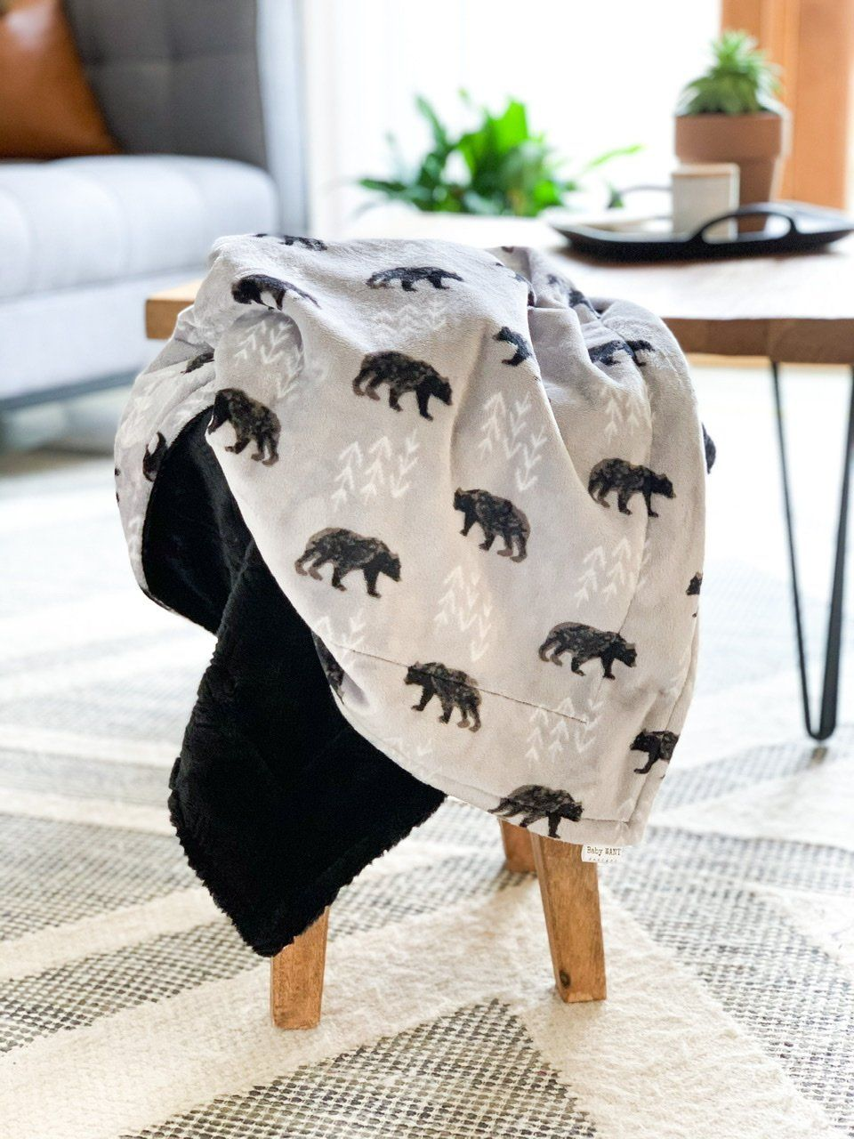 Blankets - Steel Bearfoot - Soft Baby Minky Blanket