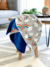 Load image into Gallery viewer, Blankets - Sweet Rainbows - Soft Baby Minky Blanket