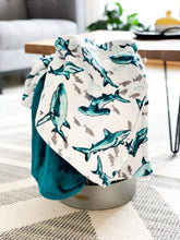 Load image into Gallery viewer, Blankets - Teal Fintastic - Soft Toddler Minky Blanket