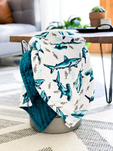 Blankets - Teal Fintastic - Soft Toddler Minky Blanket