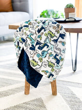 Load image into Gallery viewer, Blankets - Teal Roar! - Soft Baby Minky Blanket