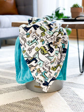 Load image into Gallery viewer, Blankets - Teal Roar!/Teal - Soft Toddler Minky Blanket