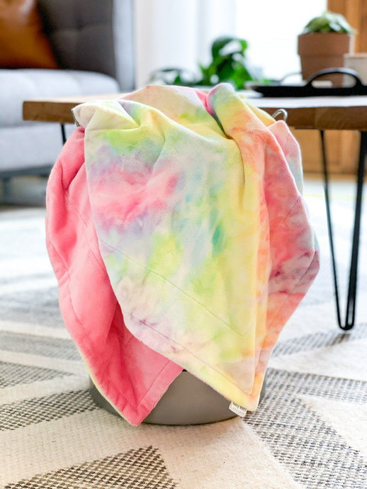 Blankets - Tie Dye/Paris Pink - Soft Toddler Minky Blanket