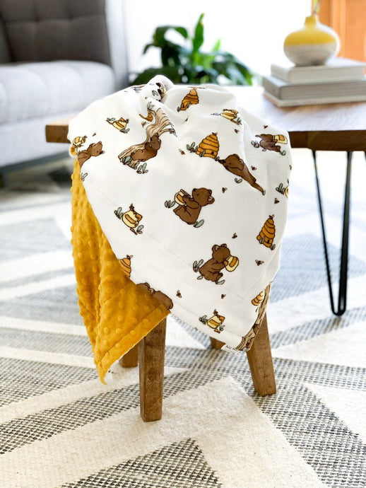 Blankets - Very Beary/Gold Dimple Dot - Soft Baby Minky Blanket