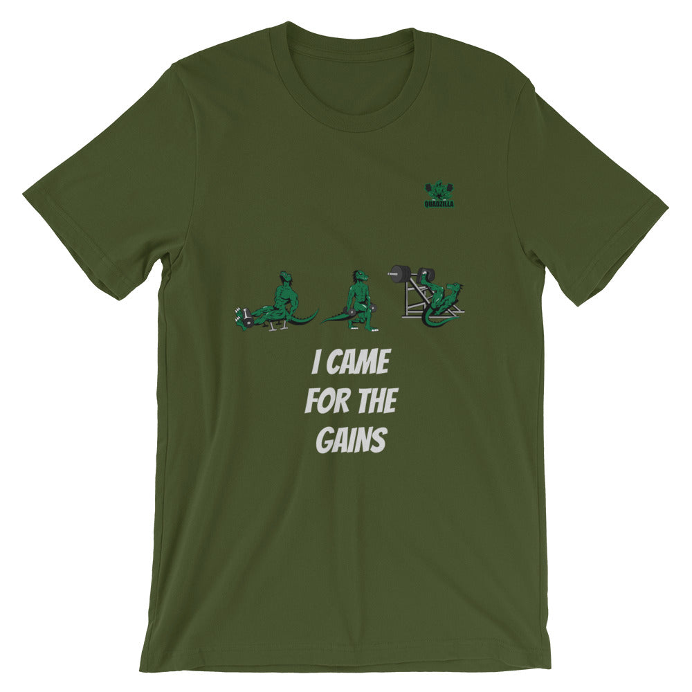 Quadzilla Came For The Gains Short-Sleeve Mens Olive T-Shirt