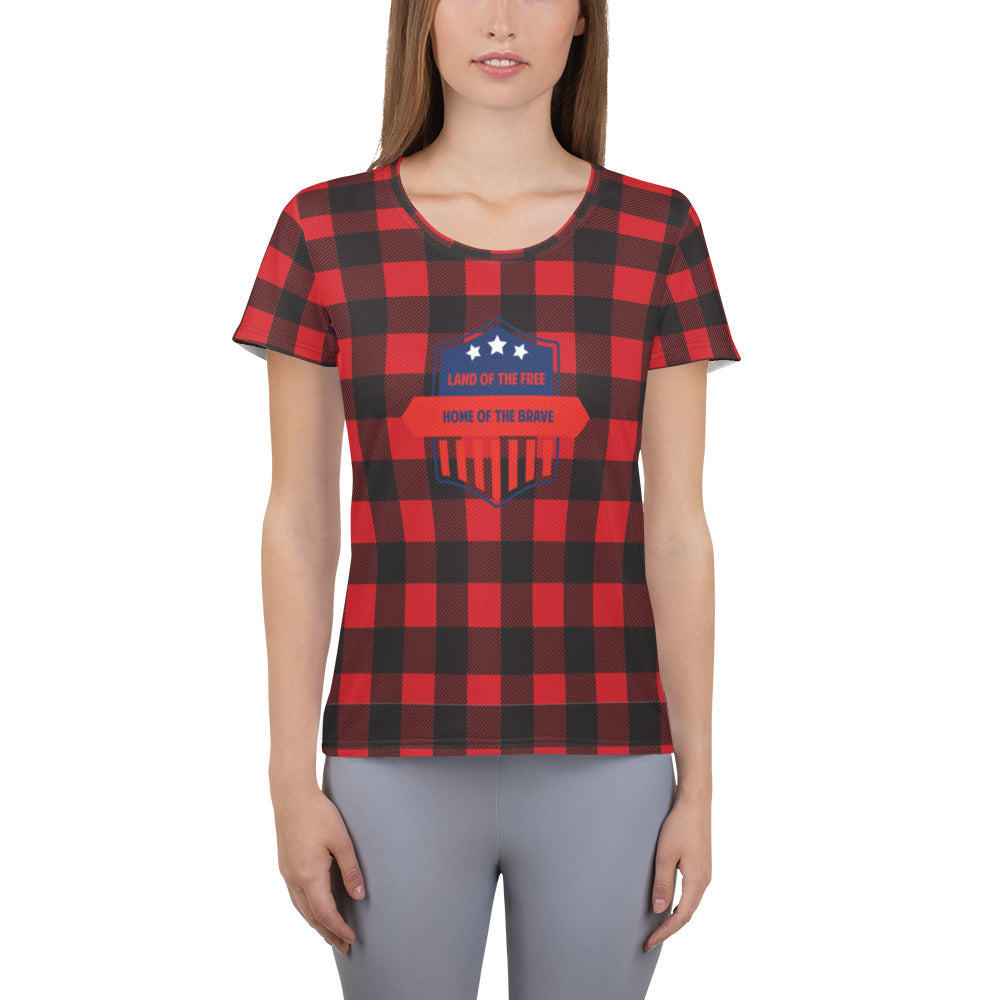 Quadzilla Womens Land Of The Free Plaid Athletic Runners T-shirt