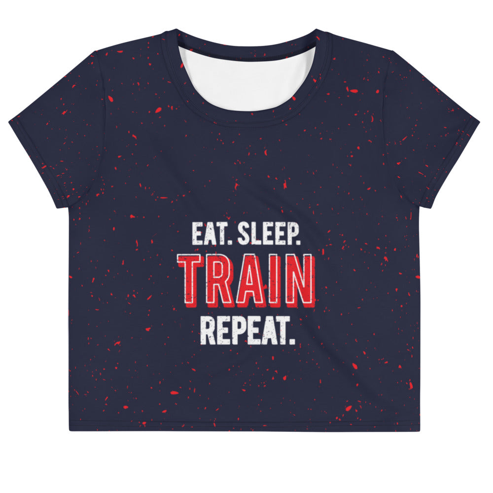 Quadzilla Eat.Sleep.Train.Repeat Womens Crop Tee