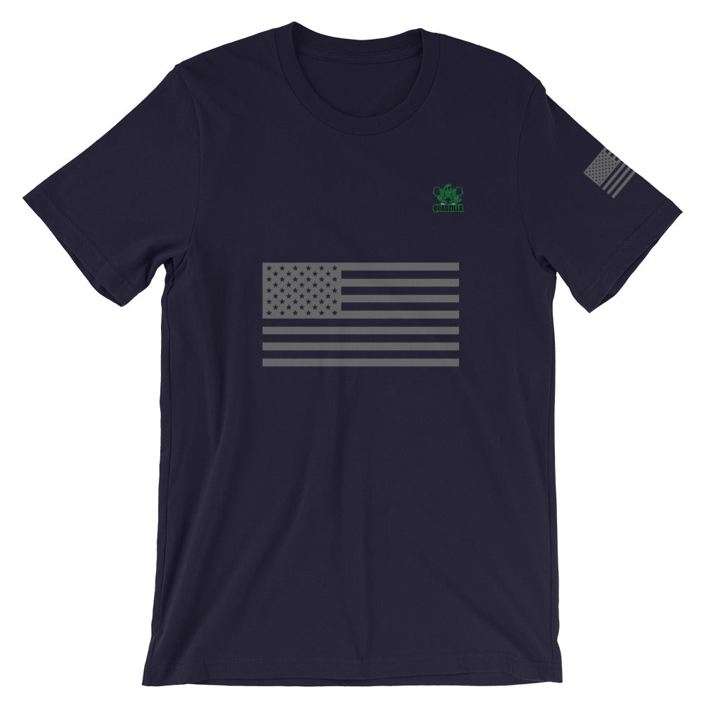 Quadzilla USA Grey Flag Short-Sleeve Navy Mens T-Shirt