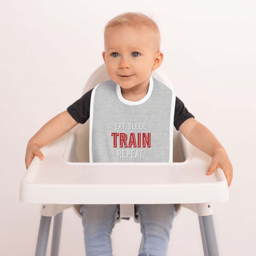 Quadzilla Eat.Sleep.Train.Repeat Baby Bib