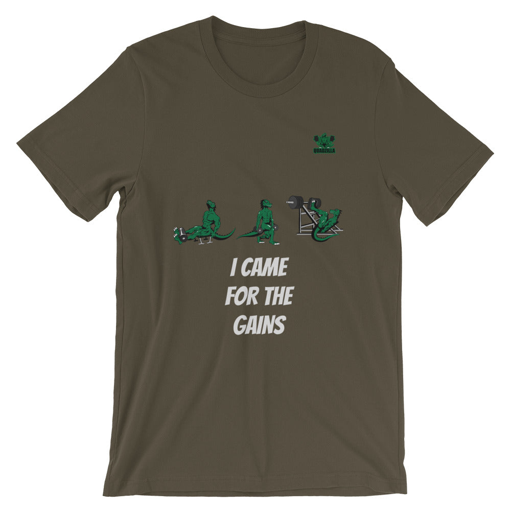 Quadzilla Came For The Gains Short-Sleeve Mens Army T-Shirt