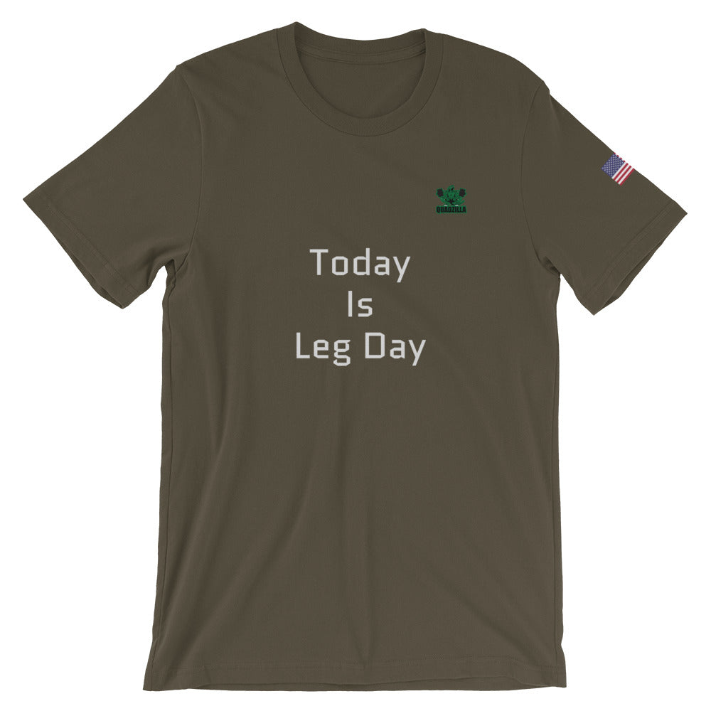 Quadzilla Today Leg Day Short-Sleeve Army Mens T-Shirt