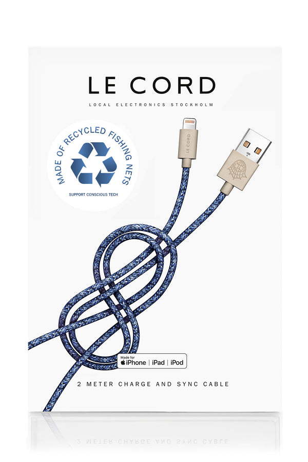 Le Cord recycled blue iPhone cable