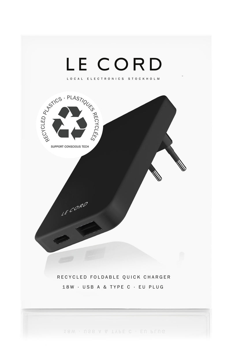 Black Lava ReCharger · Recycled Wall Charger