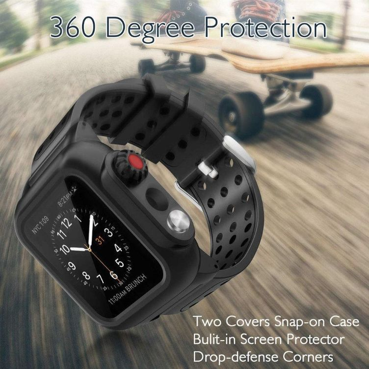 Apple Watch SE Waterproof Case Built in Screen Protector IP68 Certified Military Standard Rugged Armor Shockproof Full Protective Cover for iWatch SE with Band Strap
