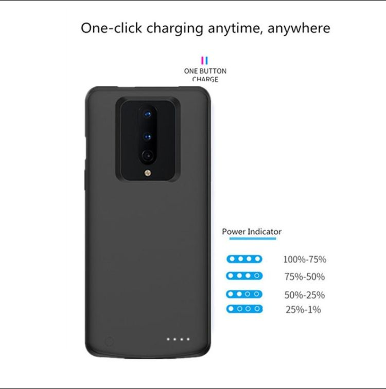 OnePlus 8T Battery Case Charging Cover Extended Charger Rechargeable Portable Backup Power Bank External Juice Shockproof Protection
