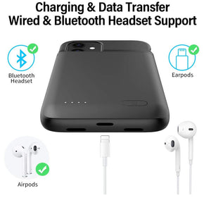 iPhone 12 Mini Battery Case Charging Cover Extended Battery Portable Rechargeable Smart Charger Pack External Juice Backup Power Bank Protection