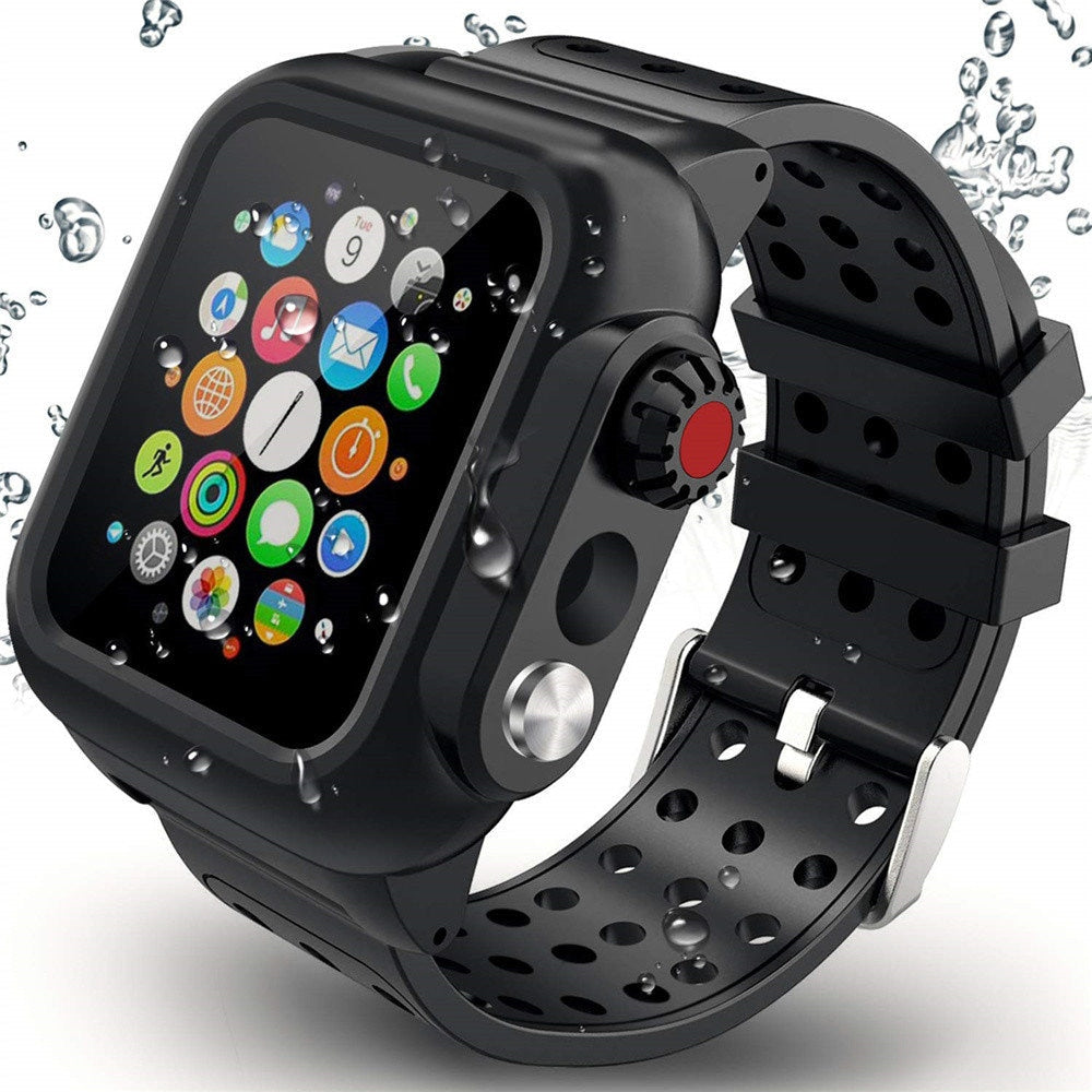Waterproof Apple Watch Case Built in Screen Protector IP68 Certified Full Protective Cover Rugged Band for iWatch Series 5 4 3  38/42/40/44mm Strap