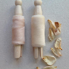 Load image into Gallery viewer, Peach and Champagne Silk Chiffon ribbons