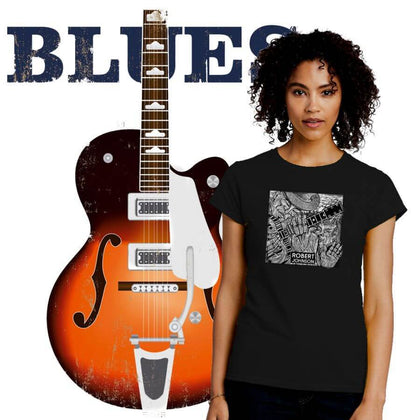 Blues Music Ladies T-Shirt Collection. ALTOSAXO Music Apparel Online Shop.