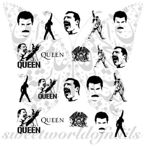 Freddie Mercury Nail Art Water Decals