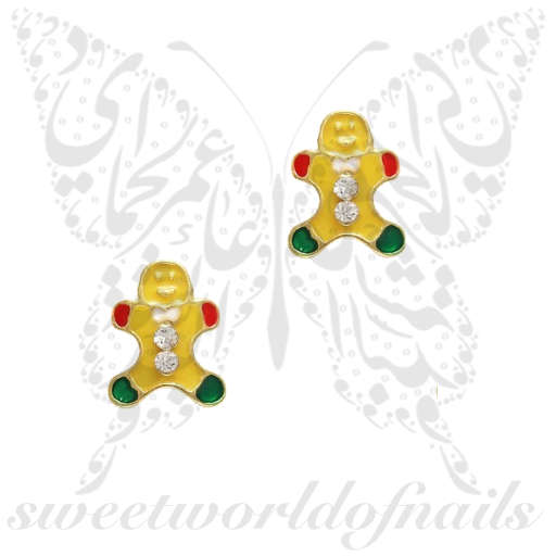 3D Christmas Nail Decoration Charms Gingerbread man / 2pcs