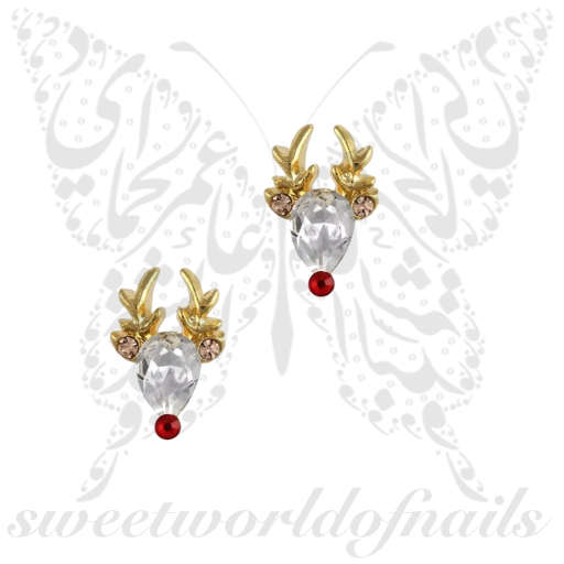 3D Christmas Reindeer Nail Decoration Charms / 2pcs