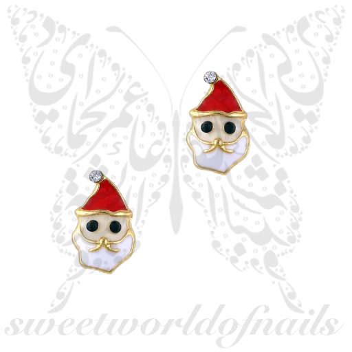 3D Christmas Nail Decoration Charms Santa Face / 2pcs